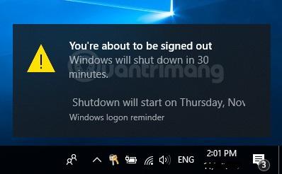 Thông báo hẹn giờ tắt máy tính